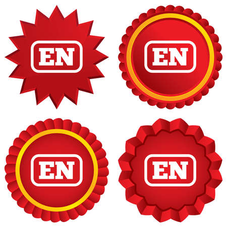 en: English language sign icon. EN translation symbol with frame. Red stars stickers. Certificate emblem labels. Vector