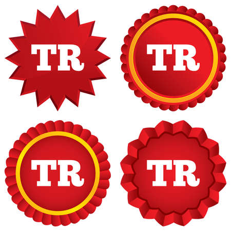 tr: Turkish language sign icon. TR Turkey Portugal translation symbol. Red stars stickers. Certificate emblem labels. Vector