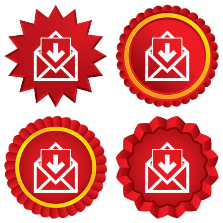 inbox: Mail icon. Envelope symbol. Inbox message sign. Mail navigation button. Red stars stickers. Certificate emblem labels. Vector