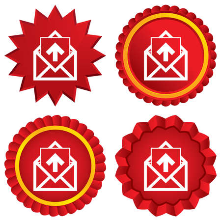 outgoing: Mail icon. Envelope symbol. Outgoing message sign. Mail navigation button. Red stars stickers. Certificate emblem labels. Vector