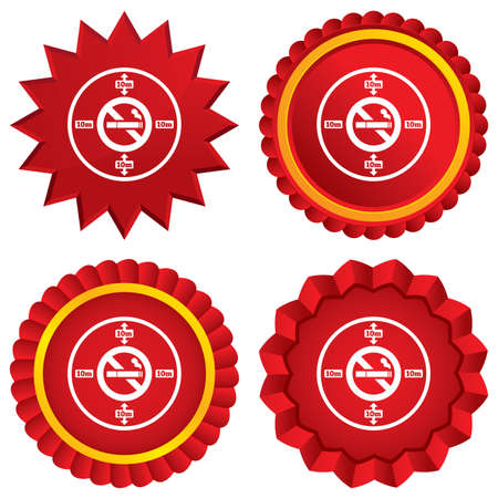 stop smoking: No smoking 10m distance sign icon. Stop smoking symbol. Red stars stickers. Certificate emblem labels. Vector