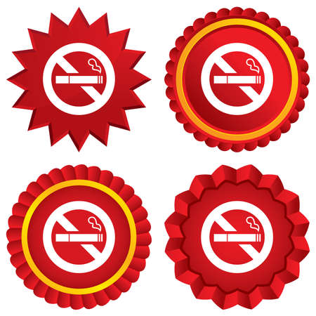 smoking cigarette: No Smoking sign icon. Quit smoking. Cigarette symbol. Red stars stickers. Certificate emblem labels. Vector