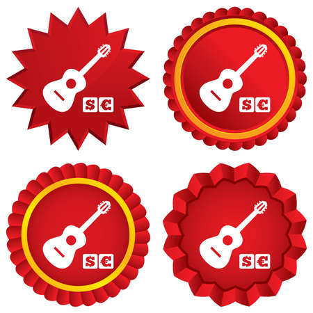 usr: Acoustic guitar sign icon. Paid music symbol. Red stars stickers. Certificate emblem labels. Vector