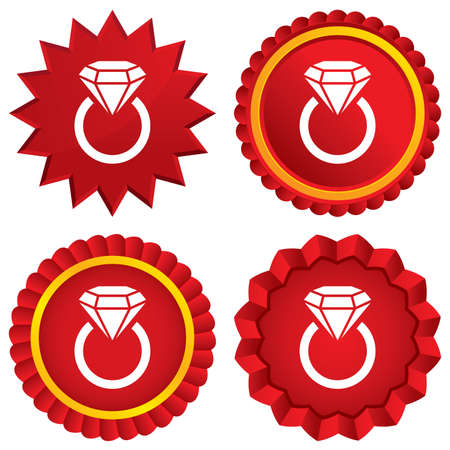 Jewelry sign icon. Ring with diamond symbol. Red stars stickers. Certificate emblem labels. Vector Vector