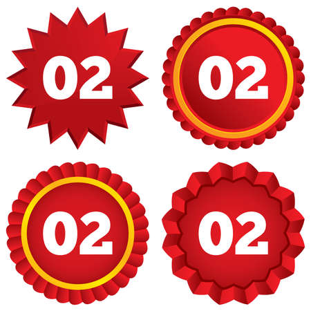 Second step sign. Loading process symbol. Step two. Red stars stickers. Certificate emblem labels. Vector Vector