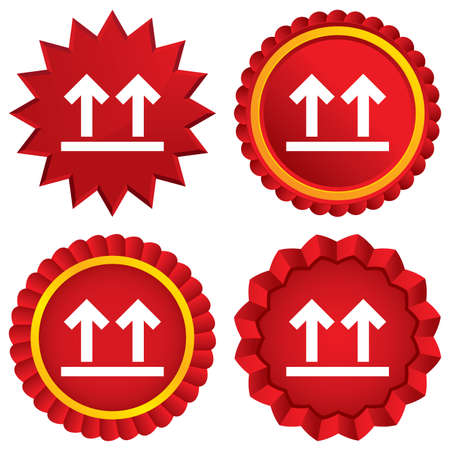 this side up: This side up sign icon. Fragile package symbol. Arrows. Red stars stickers. Certificate emblem labels. Vector Illustration