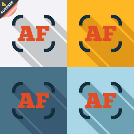 autofocus: Autofocus photo camera sign icon. AF Settings symbol. Four squares. Colored Flat design buttons.