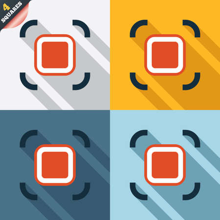 autofocus: Autofocus zone sign icon. Photo camera settings. Four squares. Colored Flat design buttons.