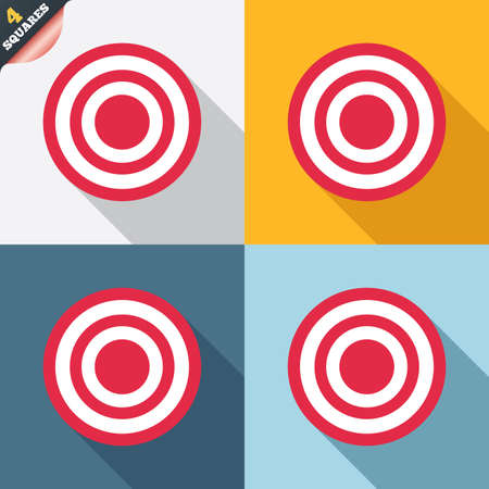 Target aim sign icon. Darts board symbol. Four squares. Colored Flat design buttons. photo