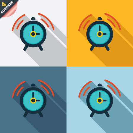 wake up call: Alarm clock sign icon. Wake up alarm symbol. Four squares. Colored Flat design buttons. Stock Photo