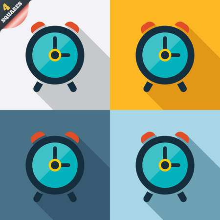 Alarm clock sign icon. Wake up alarm symbol. Four squares. Colored Flat design buttons. photo