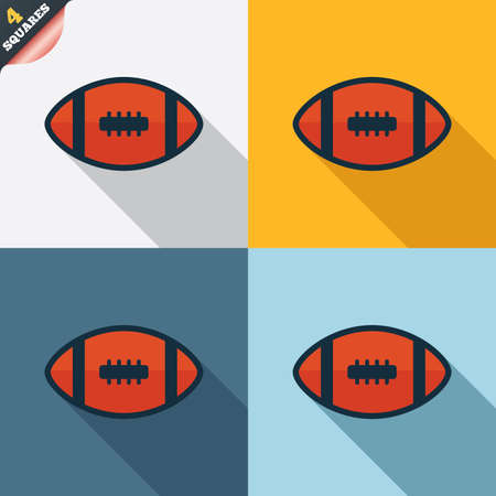 wrapped corner: American football sign icon. Team sport game symbol. Four squares. Colored Flat design buttons. Stock Photo