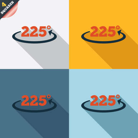 twenty two: Angle 225 degrees sign icon. Geometry math symbol. Four squares. Colored Flat design buttons.