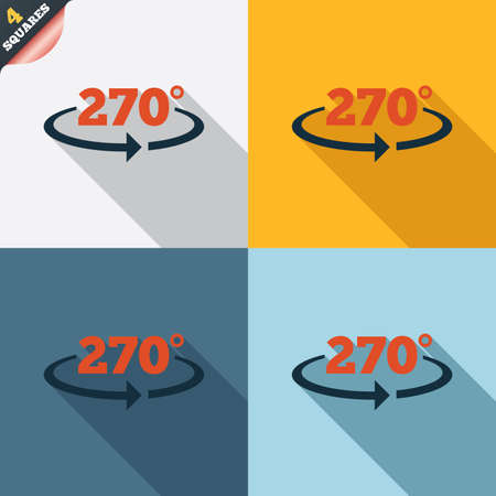seventy two: Angle 270 degrees sign icon. Geometry math symbol. Four squares. Colored Flat design buttons.