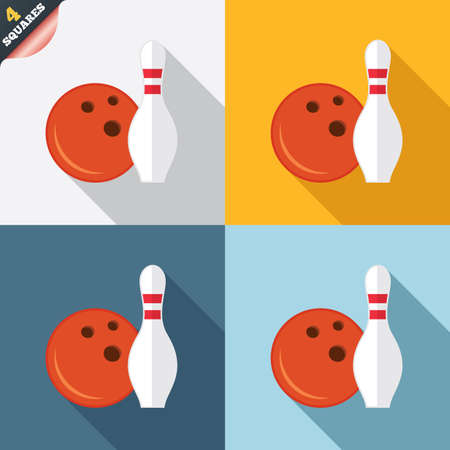 Bowling game sign icon. Ball with pin skittle symbol. Four squares. Colored Flat design buttons. photo