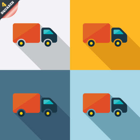 wrapped corner: Delivery truck sign icon. Cargo van symbol. Four squares. Colored Flat design buttons. Stock Photo
