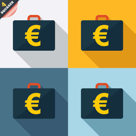 eur: Case with Euro EUR sign icon. Briefcase button. Four squares. Colored Flat design buttons. Stock Photo