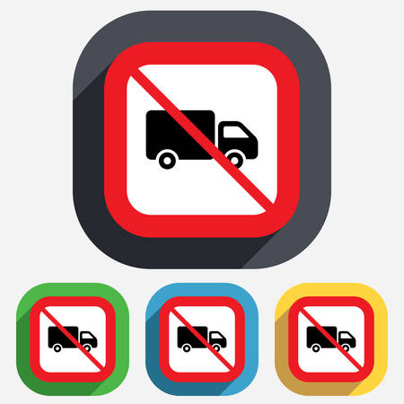 cargo van: No Delivery truck sign icon. Cargo van symbol. Red square prohibition sign. Stop flat symbol. Vector Illustration