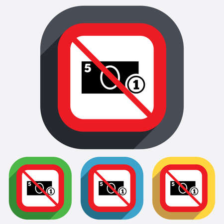 Not allowed Cash sign icon. Money symbol. Coin and paper money. Red square prohibition sign. Stop flat symbol. Vector Vector