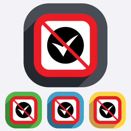 Check sign icon. Yes symbol. Confirm. Red square prohibition sign. Stop flat symbol. Vector Illustration