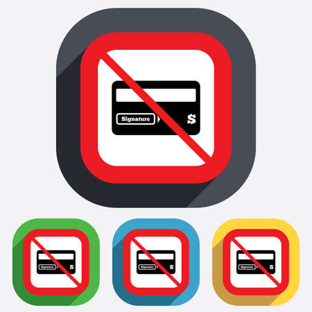 Not allowed Credit card sign icon. Debit card symbol. Virtual money. Red square prohibition sign. Stop flat symbol. Vector Vector