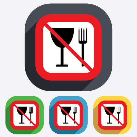 Eat sign icon. Cutlery symbol. Fork and wineglass. Red square prohibition sign. Stop flat symbol. Vector Vector