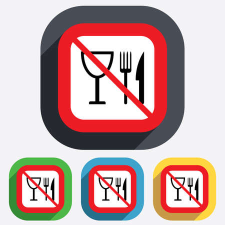 Eat sign icon. Cutlery symbol. Knife, fork and wineglass. Red square prohibition sign. Stop flat symbol. Vector Vector