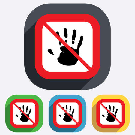 Do not touch. Hand print sign icon. Stop symbol. Red square prohibition sign. Stop flat symbol. Vector Vector