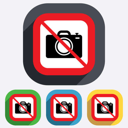 Do not Photo camera sign icon. Digital photo camera symbol. Red square prohibition sign. Stop flat symbol. Vector Vector