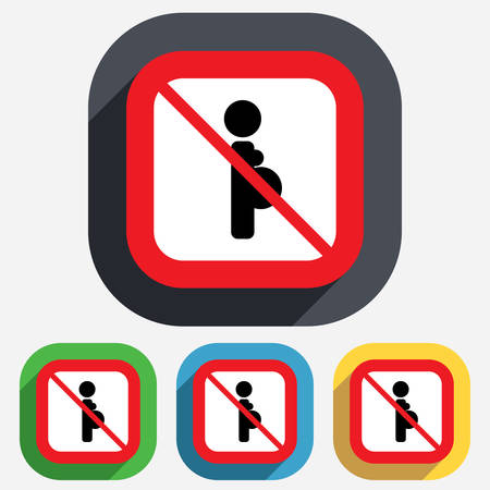 Pregnant not allowed sign icon. Pregnancy symbol. Red square prohibition sign. Stop flat symbol. Vector Vector