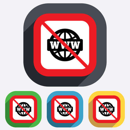 www at sign: No internet. WWW sign icon. World wide web symbol. Globe. Red square prohibition sign. Stop flat symbol. Vector