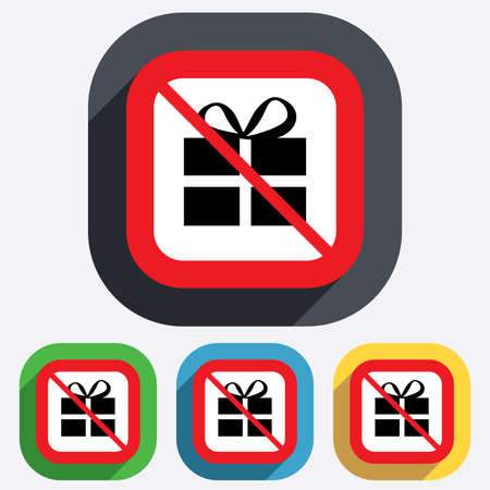 No Gift box sign icon. Present symbol. Red square prohibition sign. Stop flat symbol. Vector Vector
