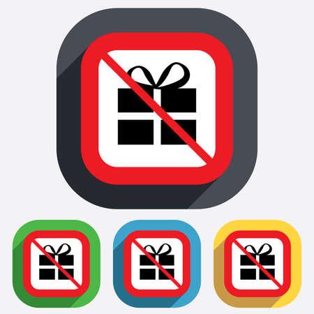No Gift box sign icon. Present symbol. Red square prohibition sign. Stop flat symbol. Vector Vector