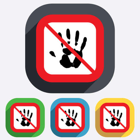 do not touch: Do not touch. Hand print sign icon. Stop symbol. Red square prohibition sign. Stop flat symbol. Vector