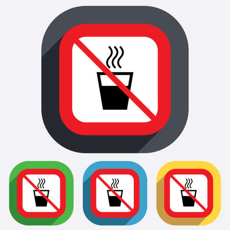 evaporation: Hot water not allowed sign icon. Do not use Hot drink glass symbol. Red square prohibition sign. Stop flat symbol. Vector