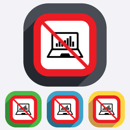 Laptop sign icon. Notebook pc with graph symbol. Monitoring. Red square prohibition sign. Stop flat symbol. Vector Vector