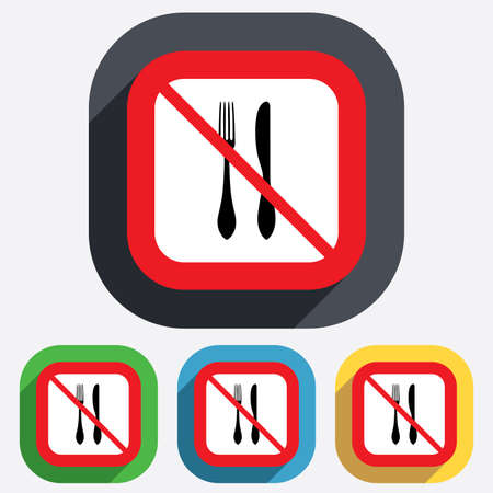 not allowed: Do not Eat sign icon. Cutlery symbol. Knife and fork. Red square prohibition sign. Stop flat symbol. Vector Illustration