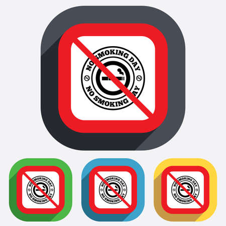 No smoking day sign icon. Quit smoking day symbol. Red square prohibition sign. Stop flat symbol. Vector Vector