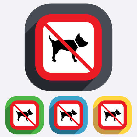 dog allowed: No Dog sign icon. Pets not allowed symbol. Red square prohibition sign. Stop flat symbol. Vector