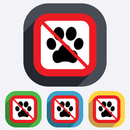 No Dog paw sign icon. Pets not allowed symbol. Red square prohibition sign. Stop flat symbol. Vector Vector