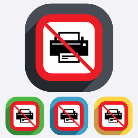 Do not Print sign icon. Printing not allowed symbol. Print button. Red square prohibition sign. Stop flat symbol. Vector Vector