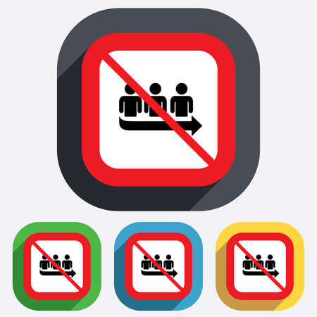 No Queue sign icon. Long turn symbol. Without waiting not allowed. Red square prohibition sign. Stop flat symbol. Vector Ilustração