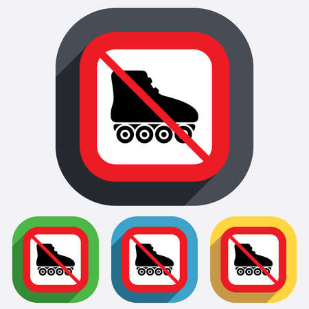 No Roller skates sign icon. With Rollerblades not allowed symbol. Red square prohibition sign. Stop flat symbol. Vector Vector