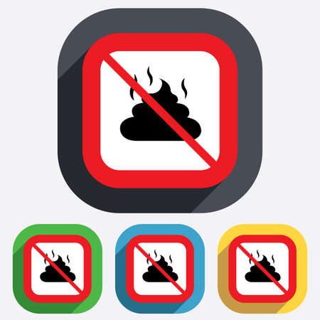 feces: No Feces sign icon. Clean up after pets symbol. Put it in the bag. Red square prohibition sign. Stop flat symbol. Vector