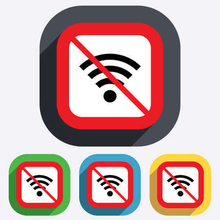No Wifi sign. Wi-fi symbol. Wireless Network icon. Wifi zone. Red square prohibition sign. Stop flat symbol. Vector Vector