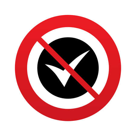 not confirm: Check sign icon. Yes symbol. Confirm. Red prohibition sign. Stop symbol. Stock Photo