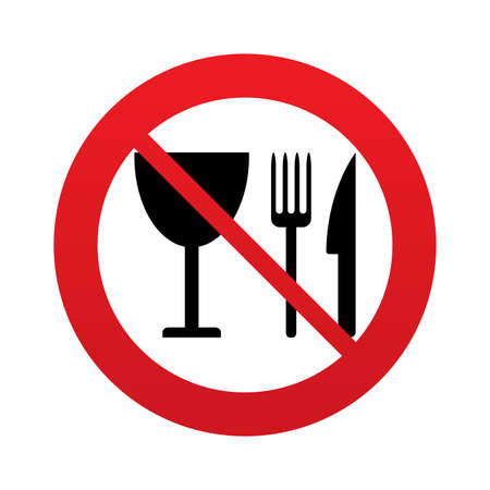 Eat sign icon. Cutlery symbol. Knife, fork and wineglass. Red prohibition sign. Stop symbol. photo