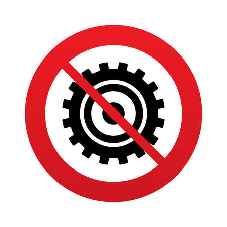 Cog settings sign icon. Cogwheel gear mechanism symbol. Red prohibition sign. Stop symbol. photo