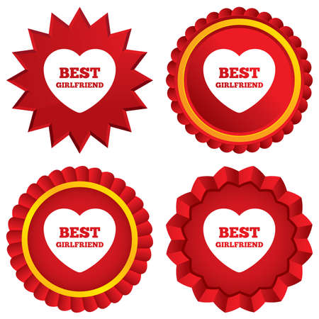 Best girlfriend sign icon. Heart love symbol. Red stars stickers. Certificate emblem labels. photo