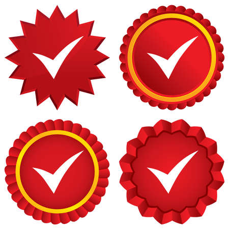 Check sign icon. Yes symbol. Confirm. Red stars stickers. Certificate emblem labels. photo